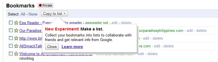 Google Bookmarks Rolls Out Social List Feature