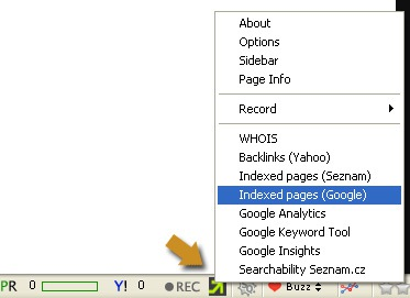 SEO professional toolbar options