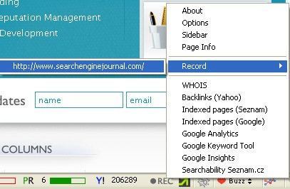SEO professional toolbar recording