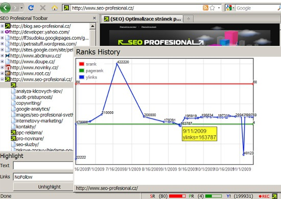 SEO professional toolbar tracking