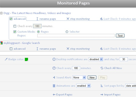 Page monitor options