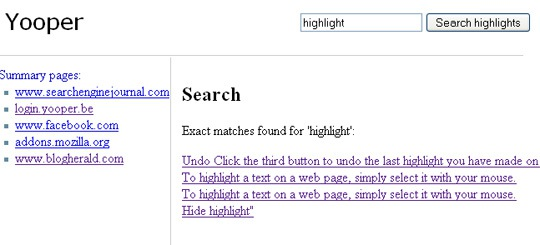 Search highlights