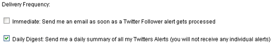 Twitter email alerts settings