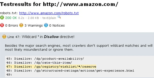 Robots.txt warnings