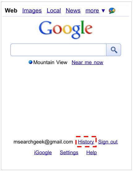 google search history feature