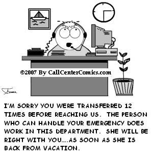 Customer service satisfaction cartoon (call center).