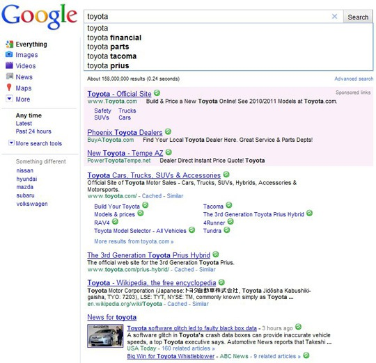 Google Instant Results for Toyota