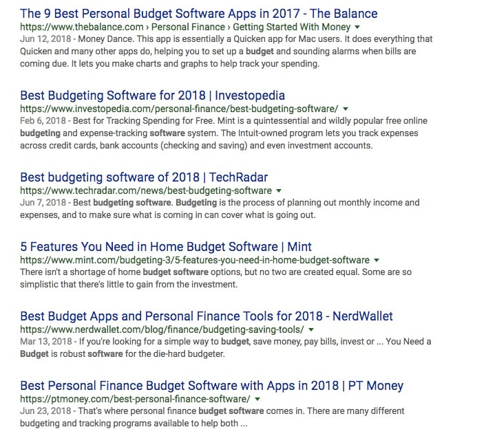 Budgeting software SERP