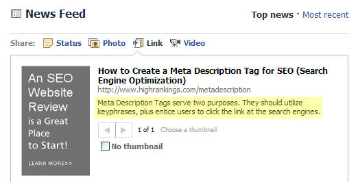 HighRankings'com page posted on Facebook showing Meta Description.