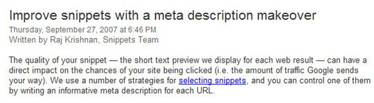 The first paragraph of the Google Webmaster Post