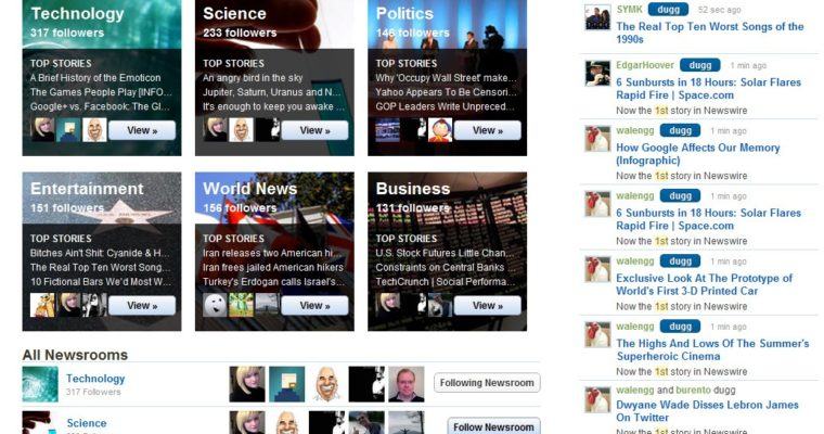 """Digg Launches """"Newsrooms"""" in Private Beta"""