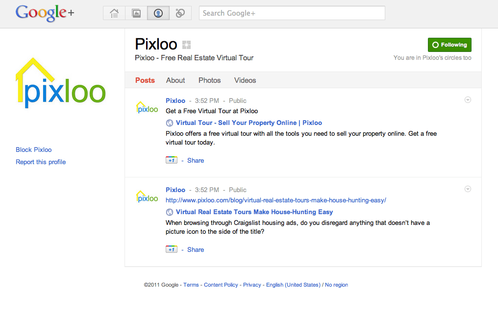 Pixloo Google + Fan Page