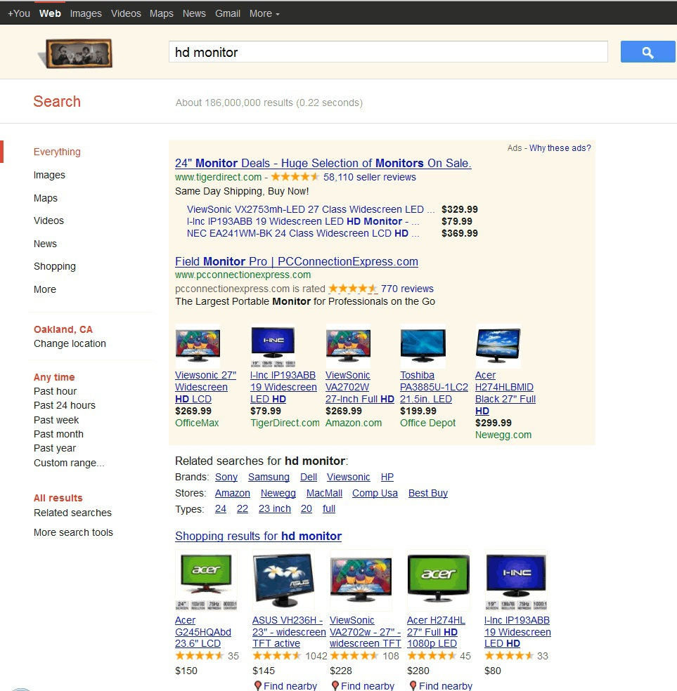 Google Adwords SERPs page