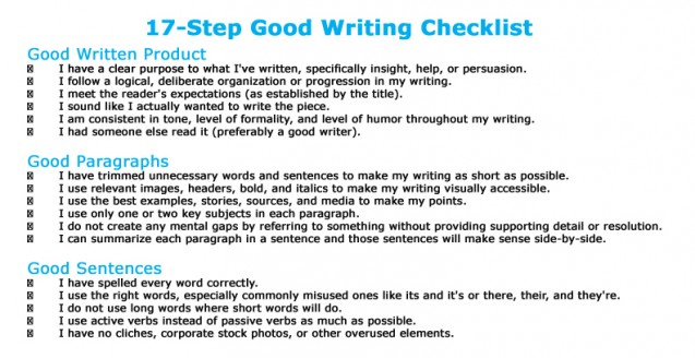 My 17-Point Checklist For Teaching Good Writing and Blogging