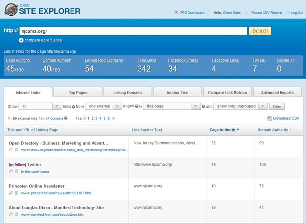 Performing an Inbound Link Analysis Using Open Site Explorer