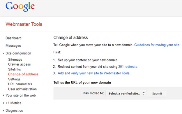 Moving Domains in Google Webmaster Tools