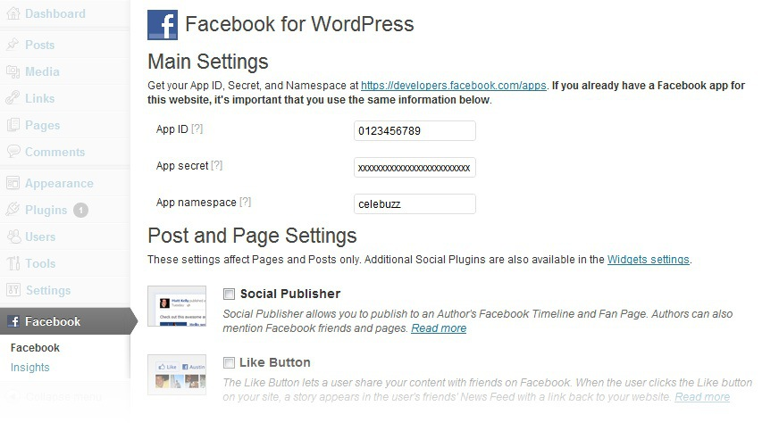 facebook developers wordpress plugin
