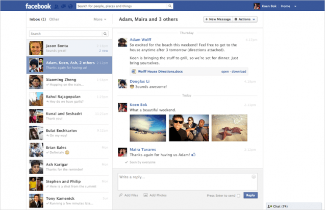 facebook messages redesigned