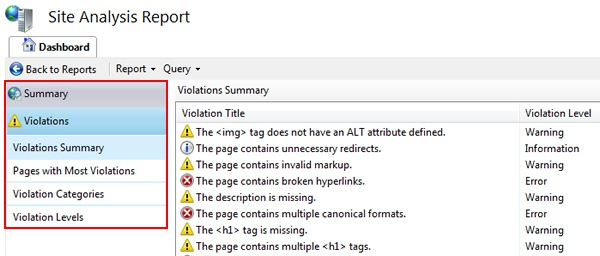 SEO Toolkit Violations Report