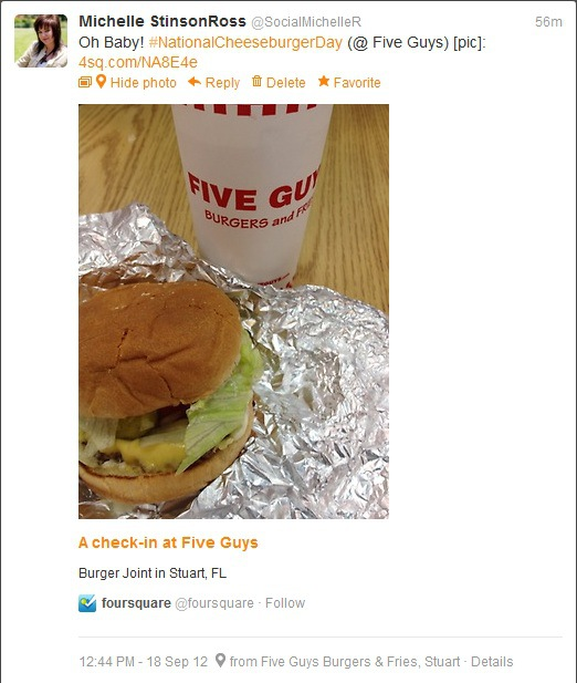 Foursquare National Cheeseburger Day
