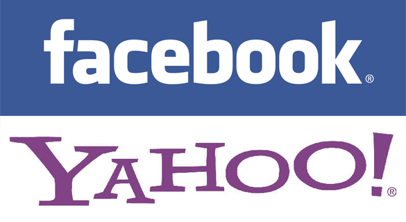 Facebook and Yahoo! logos.