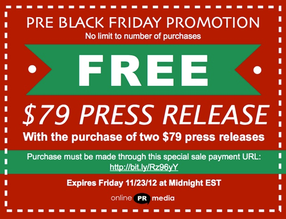 Online PR Media Black Friday sale.