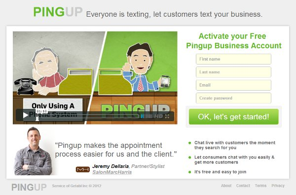 Pingup screenshot of business signup