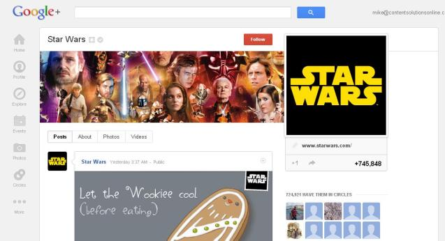 Google+ Communities 'Star Wars' Page