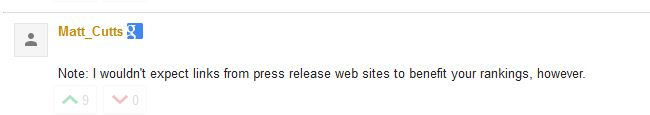 Matt Cutts Comment on Press Release Links