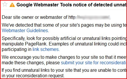 Google detected unnatural links