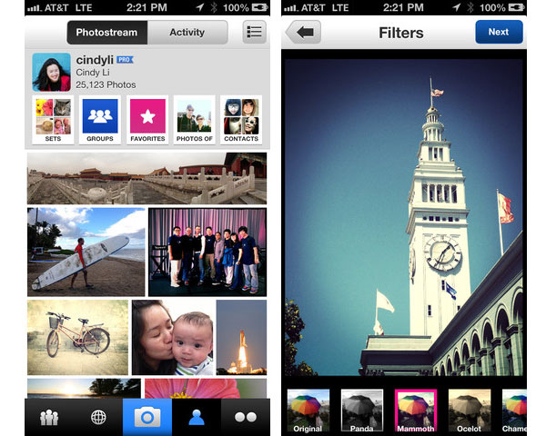 Flickr for iPhone now includes filters.