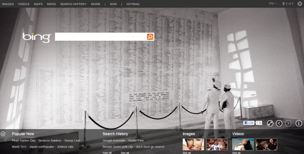 Honoring Pearl Harbor on Bing