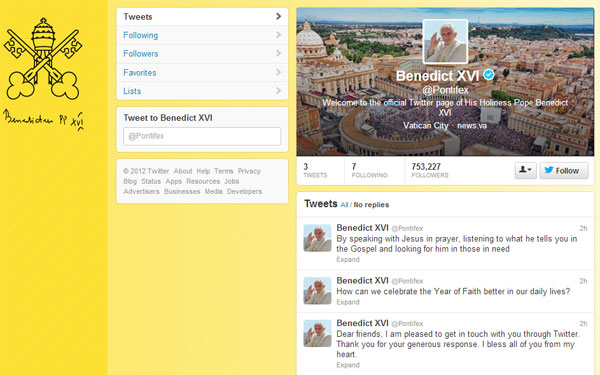 Pope Benedict XVI Joins Twitter as @Pontifex; First Tweet a Blessing