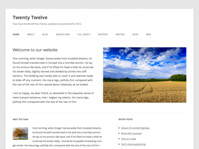 The new Twenty Twelve theme from WordPress