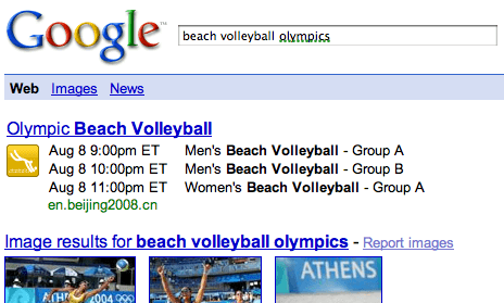 Google OneBox Also Serving Olympics Results in Search