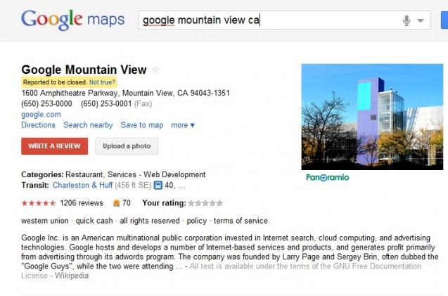 "Google Places ""Report a Problem"" Subject to Manipulation"