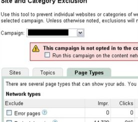 Google AdWords Feature: AdSense for Domains Opt Out