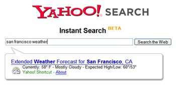 Yahoo Instant Search is Nifty