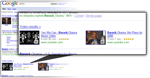 Google Tweaks Universal Search with Horizontal Video Results