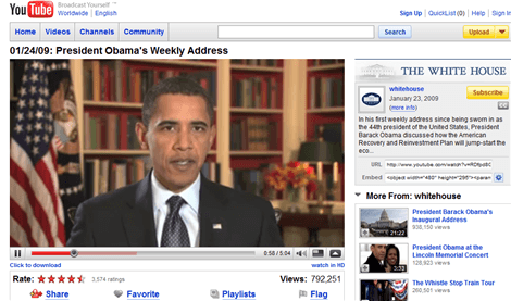 Obama Weekly Video Address Powered by Google & YouTube