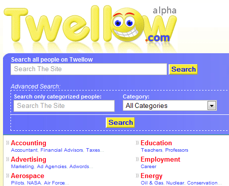 Twellow.com : Directory of Twitter Users