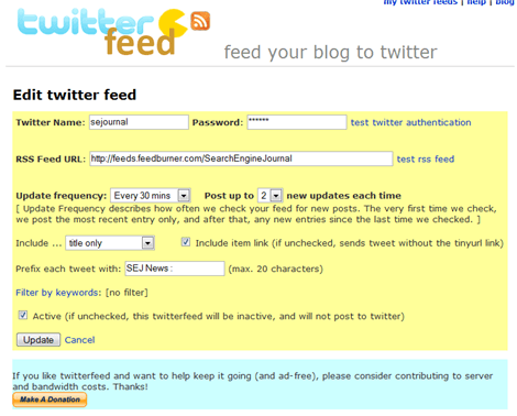 Twitter As a Traffic Generator : Set Up a TwitterFeed