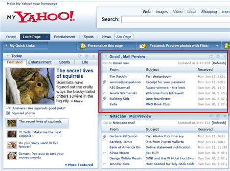 My Yahoo! Updates With GMail Integration & New Modules
