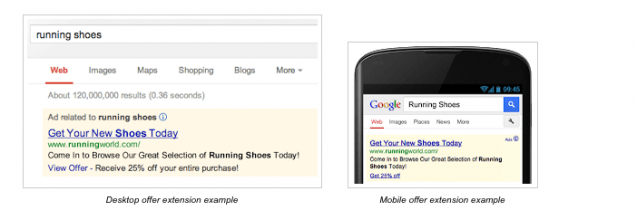 Google offer extensions