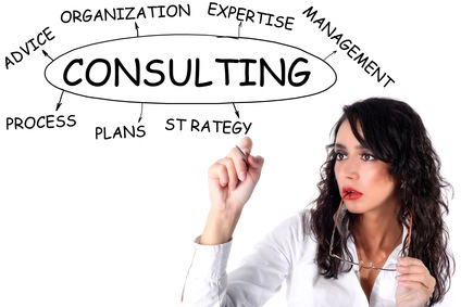 businesswoman drawing plan of Consulting