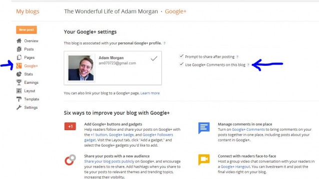 activate google + commenting