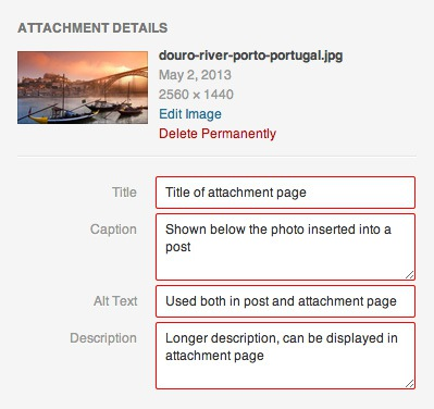 Adding attachment details in WordPress