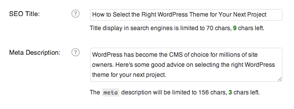 WordPress meta descriptions