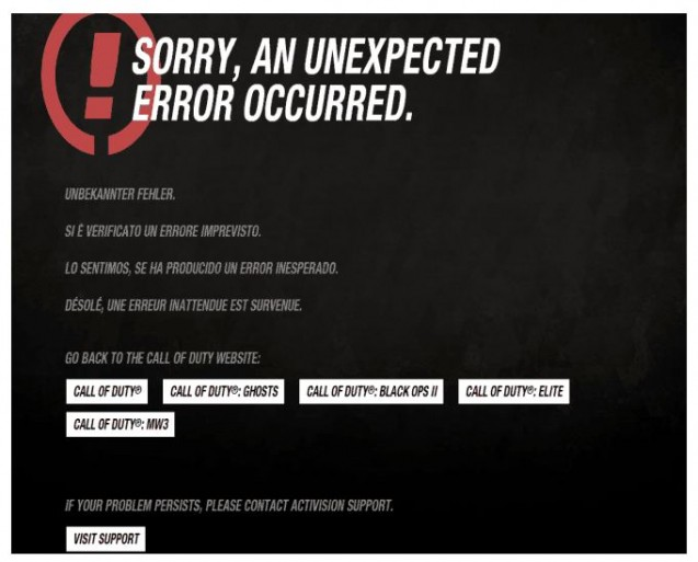 call of duty 404 page