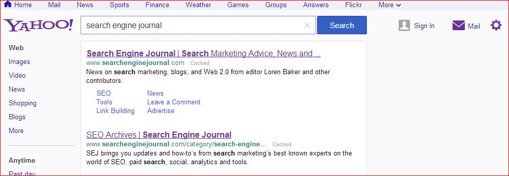 new yahoo search results page